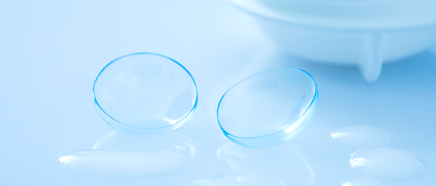 Contact lenses in front of a contact case