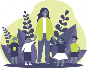 Illustration of a daycare worker with children in front of plants.