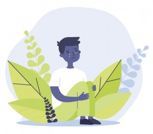 Illustration of a grieving boy among plants.